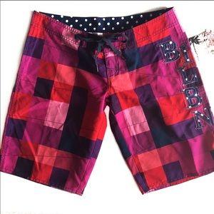 {Billabong} Checker Logo Dot Board Shorts Sz 1